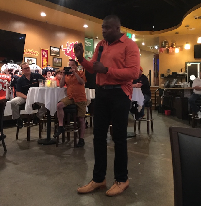 Bronco Ring of Famer Rod Smith speaking at one of our dinner meetings  (august 2017) a37dd77cf